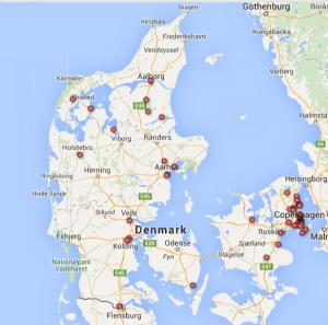 De danske adresser i #PanamaPapers-datasættet markeret på et danmarkskort